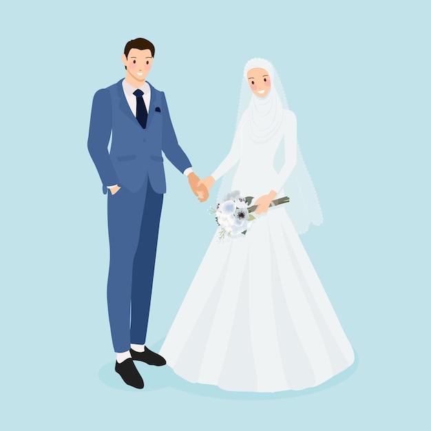 Jeune Couple De Mariage Musulman Vecteur Premium