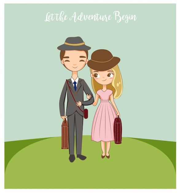 Jeune couple romantique heureux de voyager Vecteur Premium