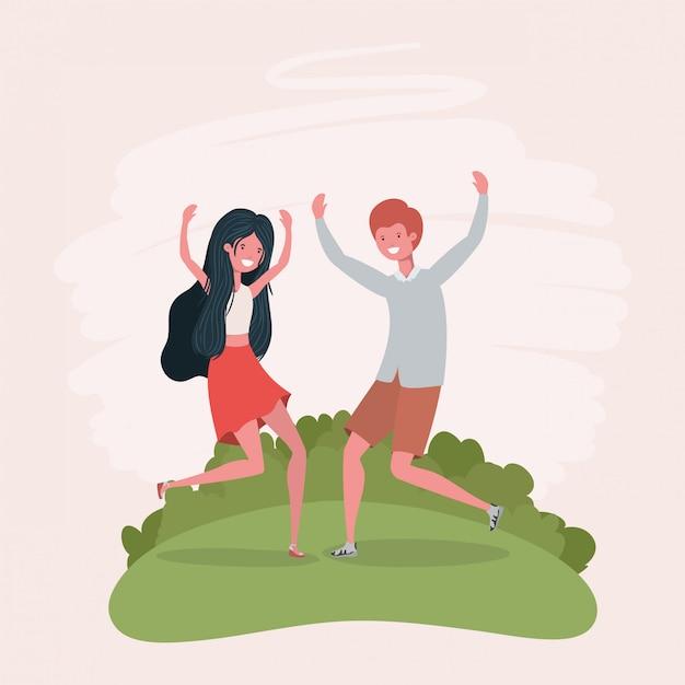Jeune couple, sauter, célébrer, caractères, parc Vecteur gratuit