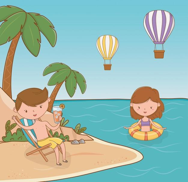 Jeune couple sur la scène de la plage Vecteur Premium