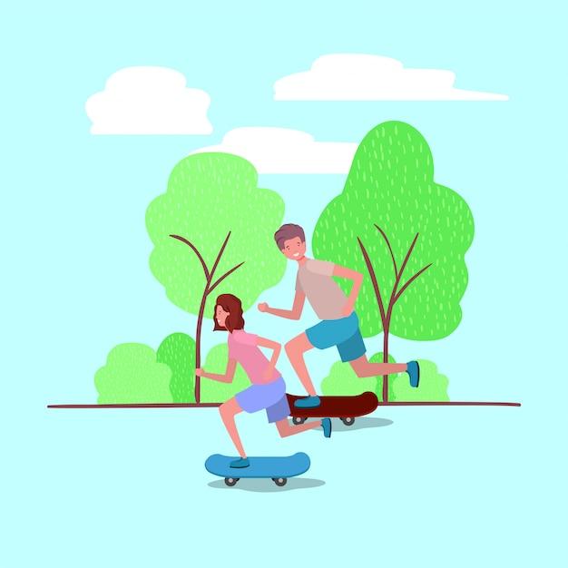 Jeune couple en skateboard sur le parc Vecteur Premium