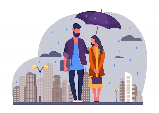 Jeune Couple Sous La Pluie Illustration Vectorielle Vecteur gratuit