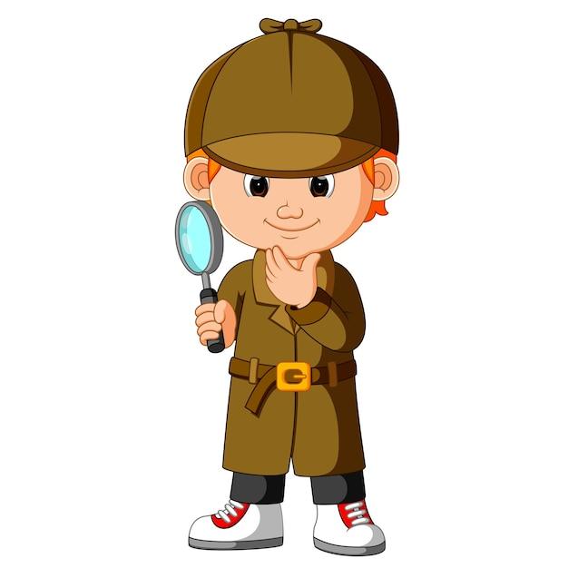 Un jeune détective intelligent Vecteur Premium