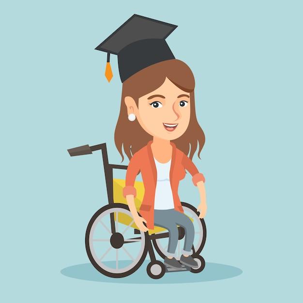 Jeune Diplômé Caucasien Assis En Fauteuil Roulant. Vecteur Premium