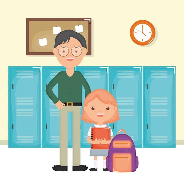 Jeune enseignant de sexe masculin avec une fille étudiante à l'école Vecteur gratuit