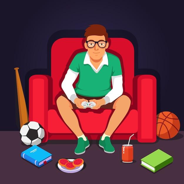 Jeune étudiant étudiant hipster jouant à des jeux vidéos Vecteur gratuit