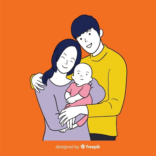 Jeune famille dans un style de dessin coréen Vecteur gratuit