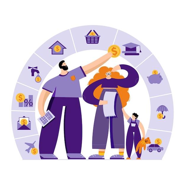 La Jeune Famille Avec L'enfant Planifie Son Budget En Affectant De L'argent à Un Budget Différent Vecteur Premium