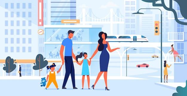 Jeune Famille, Sur, Ville, Plat, Illustration Vecteur Premium