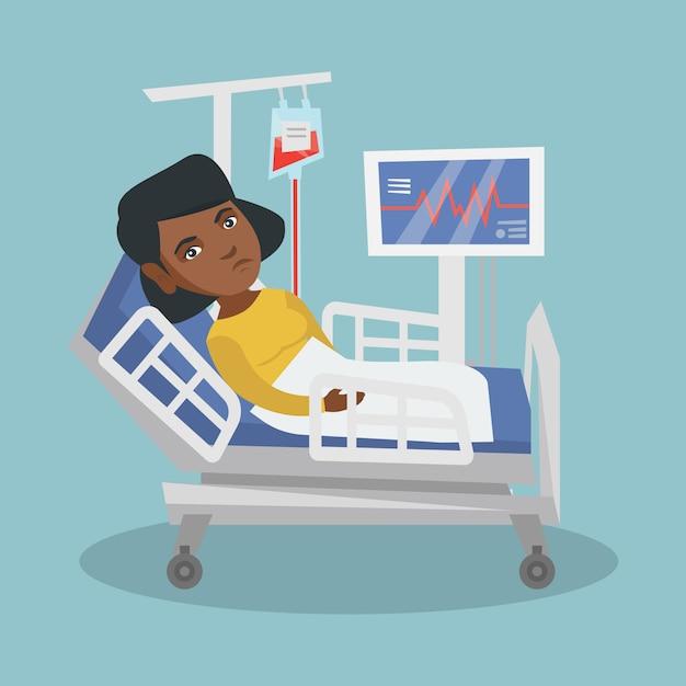 Jeune Femme Afro-américaine Allongée Dans Son Lit D'hôpital Vecteur Premium