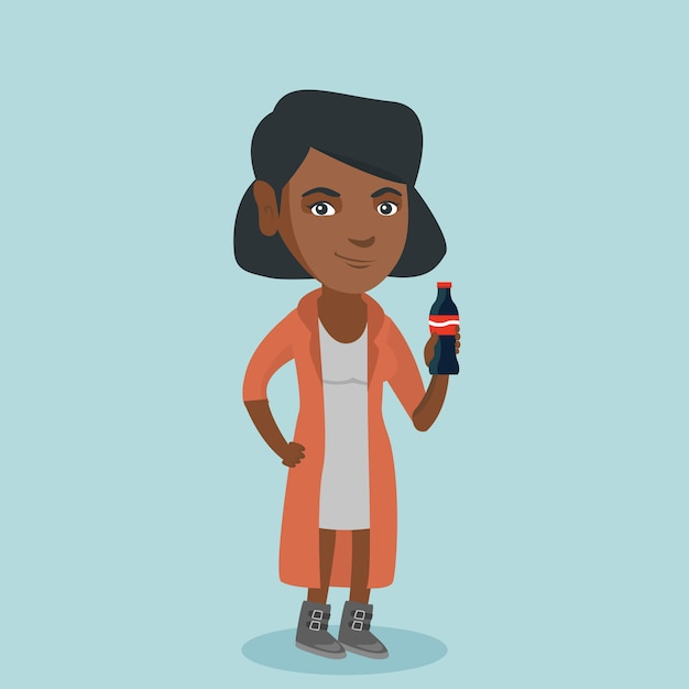 Jeune Femme Afro-américaine, Boire Du Soda. Vecteur Premium