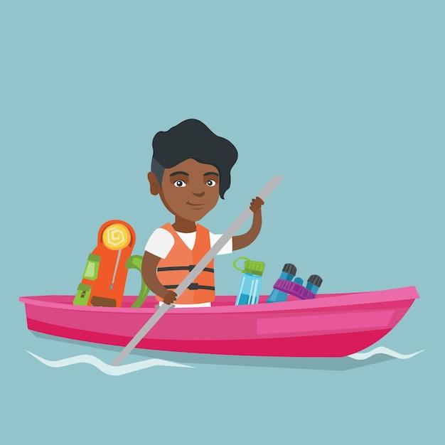 Jeune femme afro-américaine, faire du kayak. Vecteur Premium