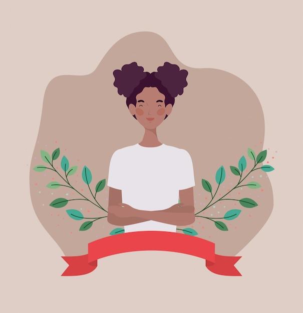 Jeune femme afro avec ruban et cadre Vecteur gratuit