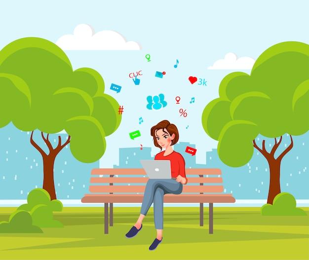 Jeune femme assise dans le parc Vecteur Premium