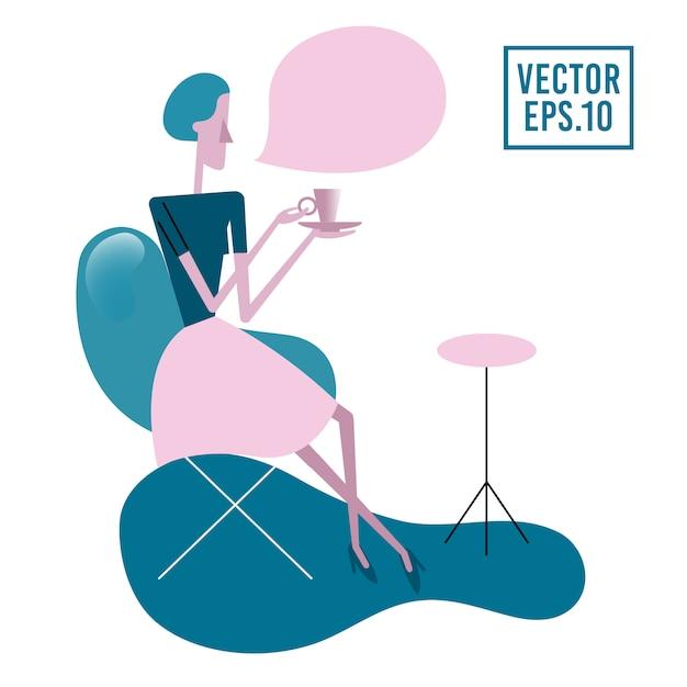 Jeune femme assise à la table sur un fauteuil, buvant du thé ou du café. Vecteur Premium