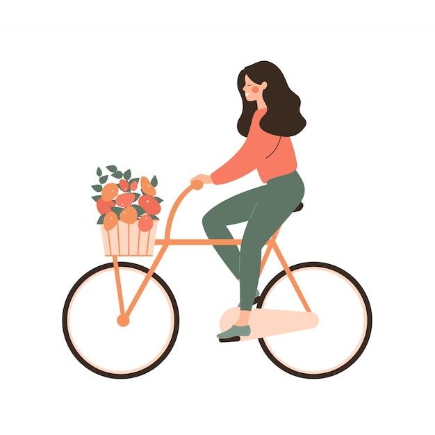 Jeune femme de bande dessinée promenades en vélo avec bouquet dans le panier. notion d'amour cyclisme. Vecteur Premium