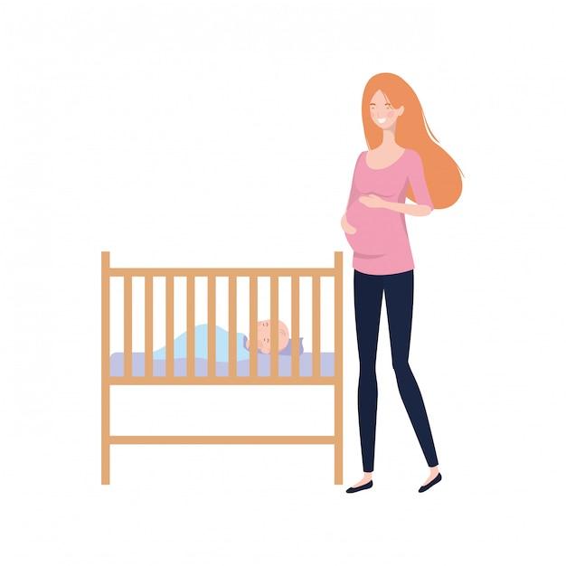 Jeune femme avec bébé nouveau-né Vecteur Premium
