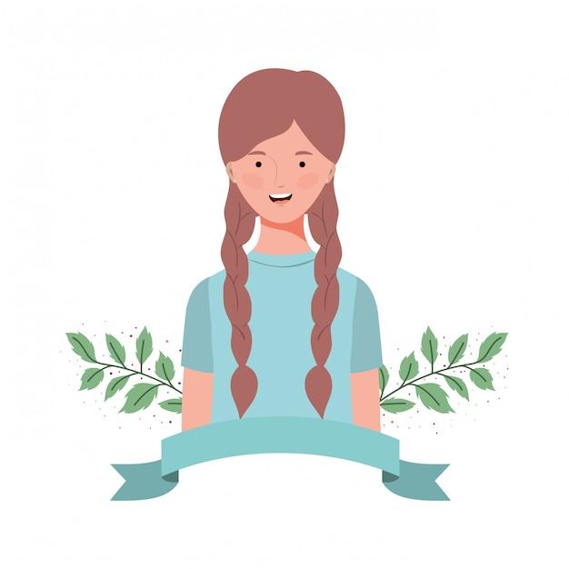 Jeune femme avec des branches et des feuilles Vecteur Premium