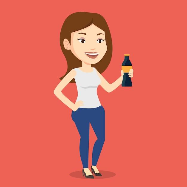 Jeune Femme Buvant Du Soda. Vecteur Premium