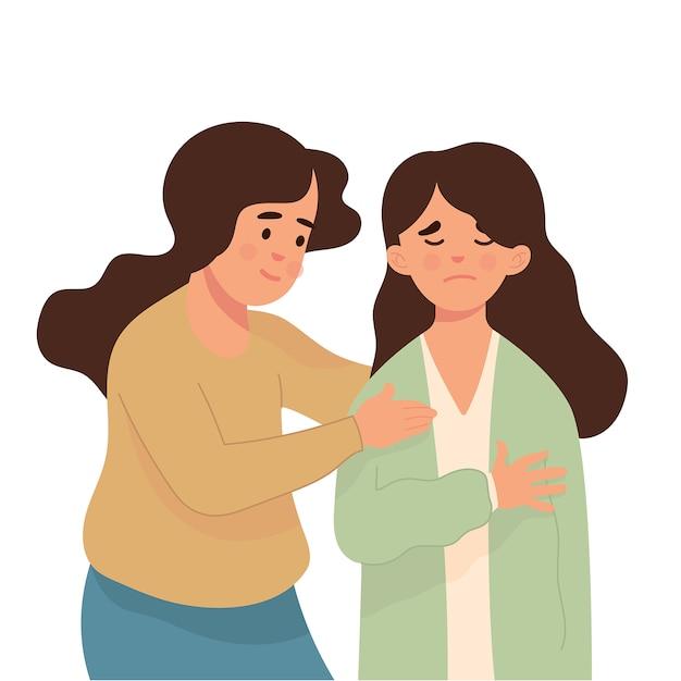 Jeune femme calme son amie qui est triste Vecteur Premium