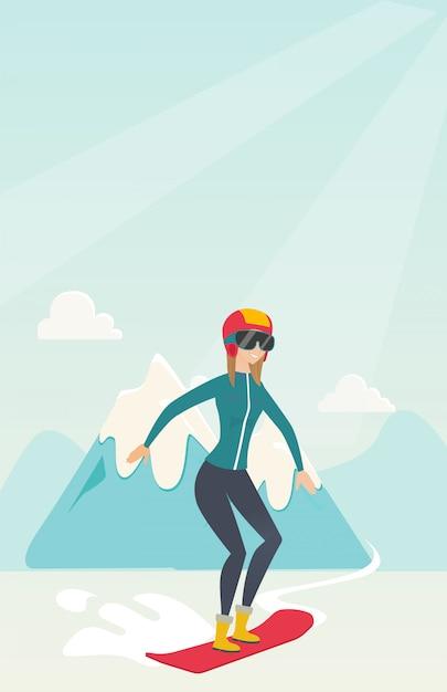 Jeune femme caucasienne de snowboard. Vecteur Premium