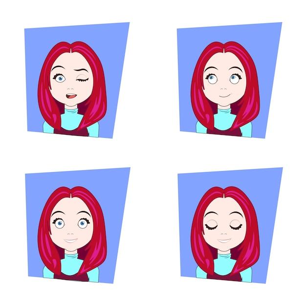 Jeune femme, à, cheveux rouges, différent, émotions faciales, ensemble, de, expressions visage fille Vecteur Premium