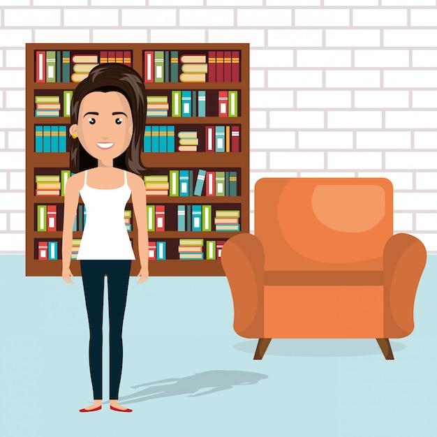 Jeune femme dans la scène personnage de la bibliothèque Vecteur gratuit