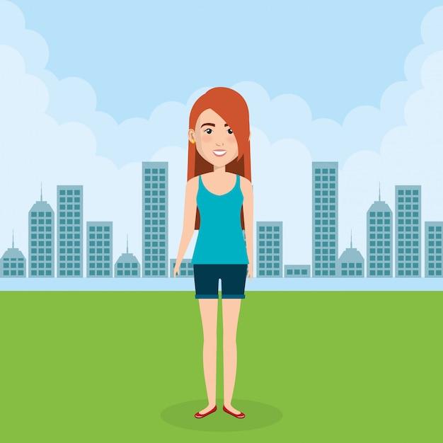 Jeune femme dans la scène de personnage sur le terrain Vecteur gratuit