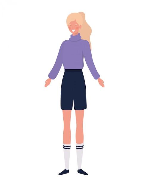 Jeune Femme, Debout, Blanc Vecteur gratuit