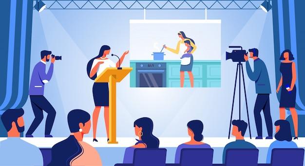 Jeune femme debout sur scène avec discours de carrière Vecteur Premium