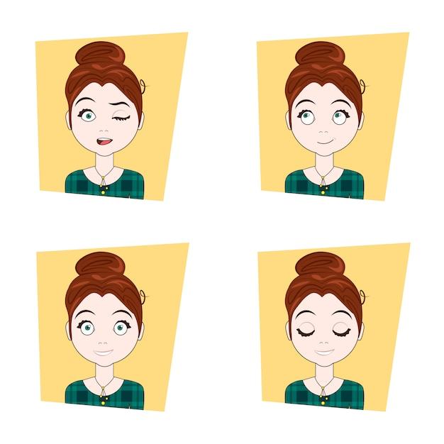 Jeune femme avec différentes émotions du visage ensemble d'expressions de visage de fille Vecteur Premium
