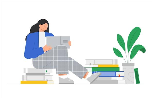 La Jeune Femme Est Assise Sur Une Pile De Livres Et Lit Un Livre. Vecteur Premium
