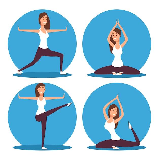 Jeune femme faisant des exercices de yoga et illustration vectorielle de méditation Vecteur Premium