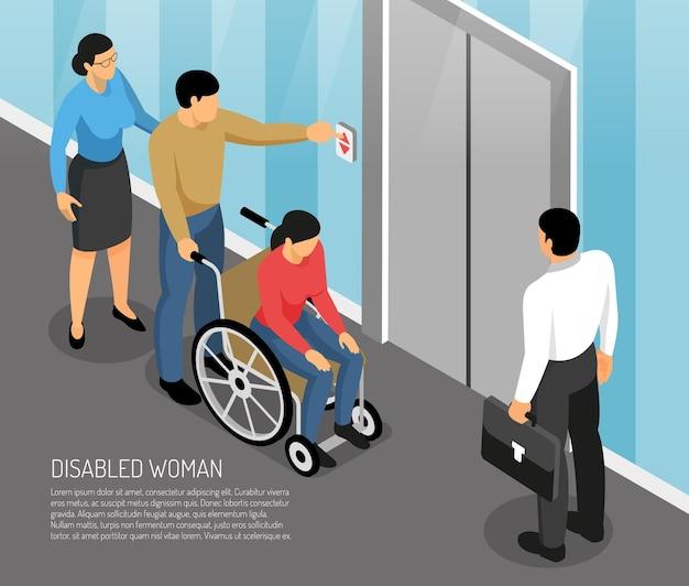 Jeune Femme Handicapée En Fauteuil Roulant Avec Accompagnateurs En Attente D'ascenseur Isométrique Vecteur gratuit