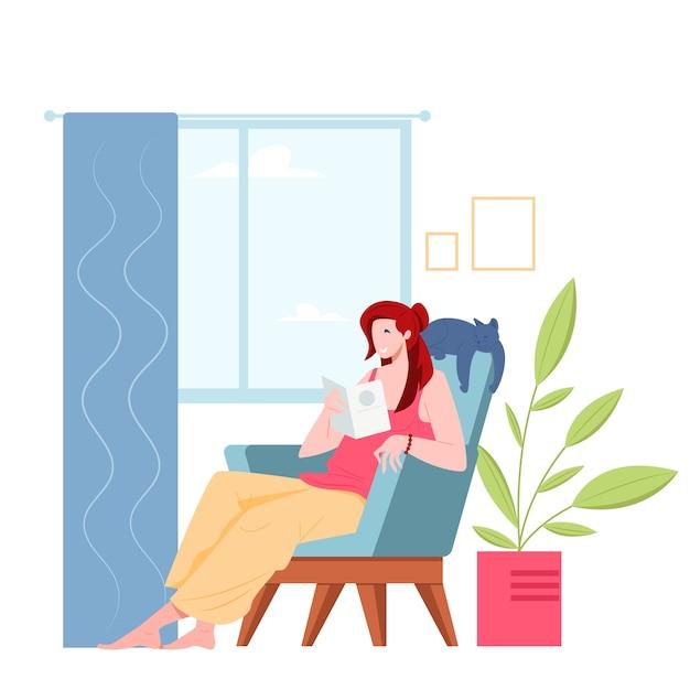 Jeune Femme Lisant Un Livre Assis Sur Une Chaise Au Design Plat Vecteur Premium