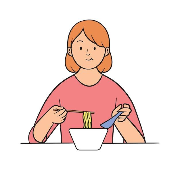 Jeune femme mangeant des ramen avec des baguettes et des cuillères Vecteur Premium