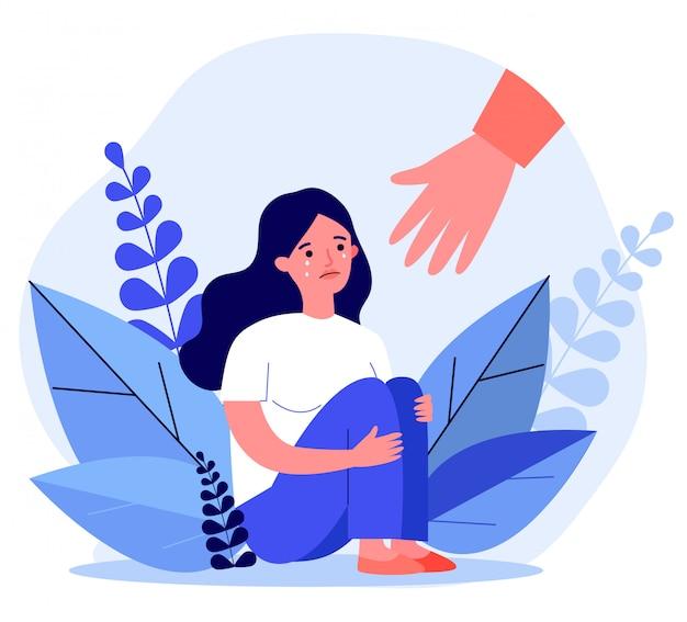 Jeune Femme, Obtenir De L'aide Et Guérir Du Stress Vecteur Premium