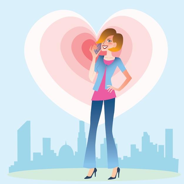 Jeune femme parlant au coeur du téléphone Vecteur Premium