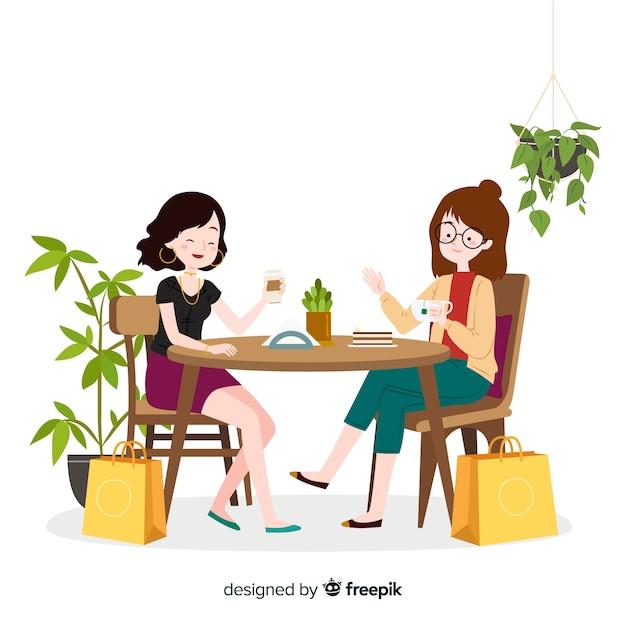 Jeune femme passe du temps ensemble Vecteur gratuit