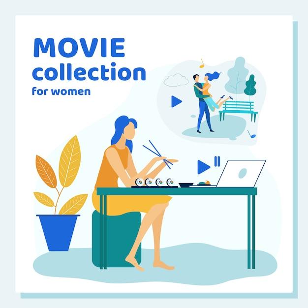 Jeune femme passe du temps à la maison à regarder un film Vecteur Premium