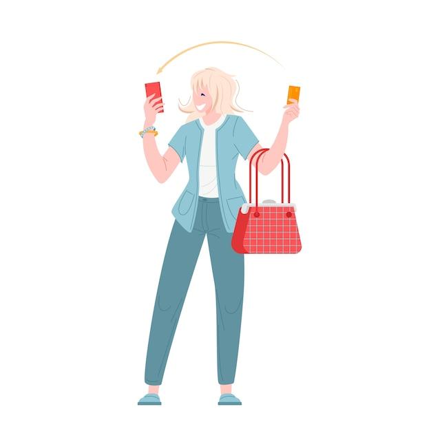 Jeune Femme Payant Par Carte De Crédit Pour Un Achat Au Design Plat Vecteur Premium