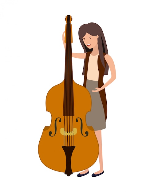Jeune femme avec un personnage de violon Vecteur Premium