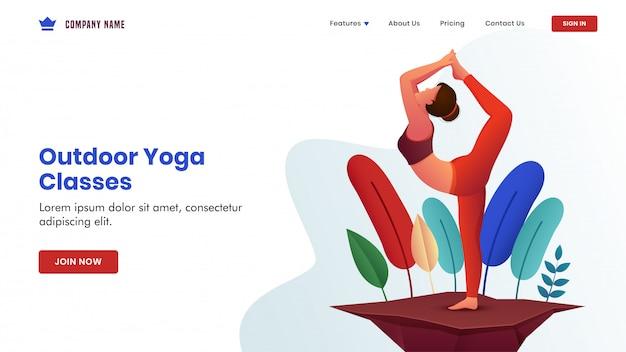 Jeune femme pratique la pose de yoga natarajasana sur une vue de la nature pour une page d'atterrissage basée sur les cours de yoga en plein air. Vecteur Premium