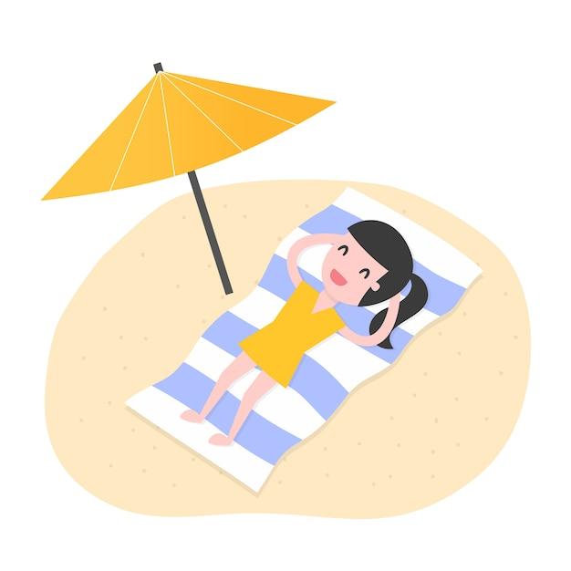 Jeune femme relaxante sur la plage Vecteur Premium