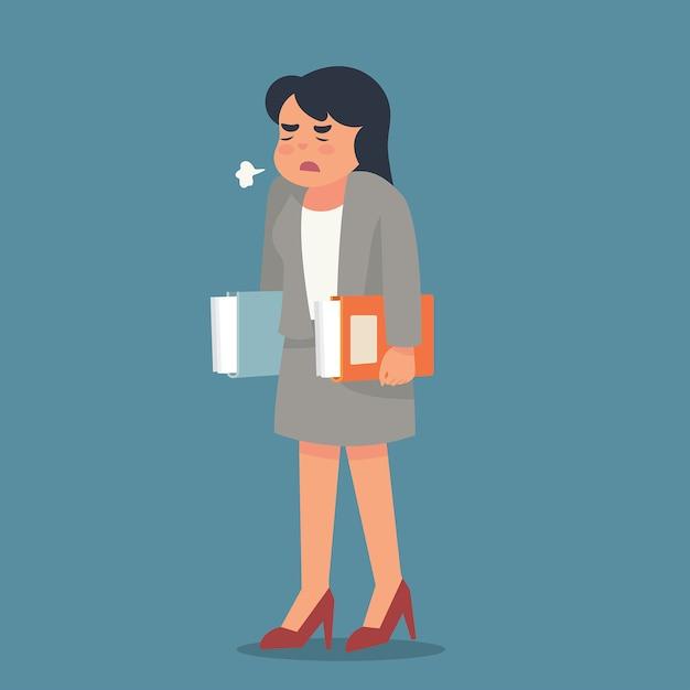Jeune femme se sentant contrariée par son travail Vecteur Premium