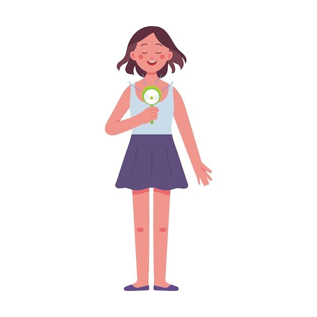 Une jeune femme tenant un ventilateur électrique lors d'une journée très chaude Vecteur Premium