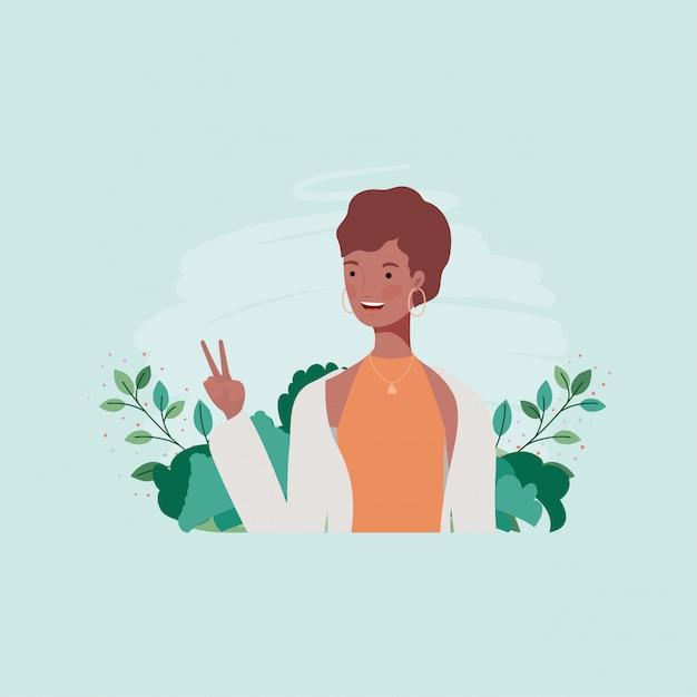 Jeune fille afro dans le camp avec leafs Vecteur Premium