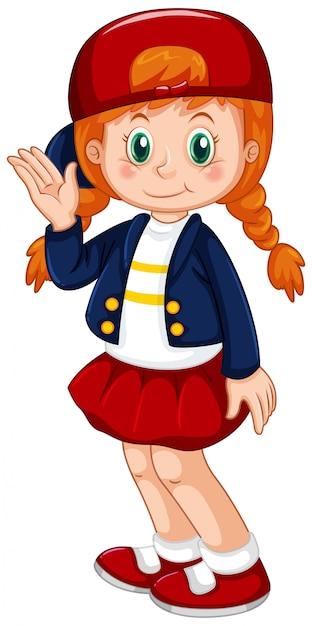 Jeune fille aux cheveux rouges Vecteur gratuit