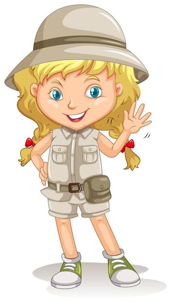 Une jeune fille blonde scoute Vecteur gratuit