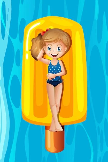 Jeune fille, délassant, sur, popsicle, gonflable Vecteur gratuit